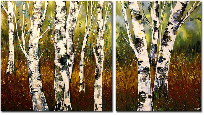 Birch trees painting by Osnat Tzadok