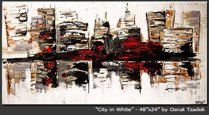 original artwork - abstract painting - City in White by Osnat