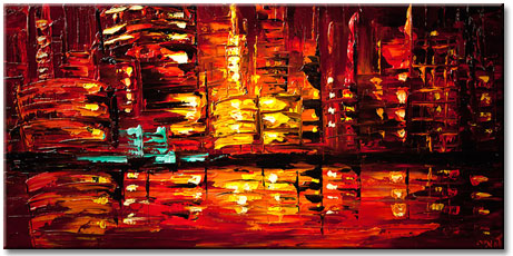original artwork - abstract painting of red cityscape by Osnat