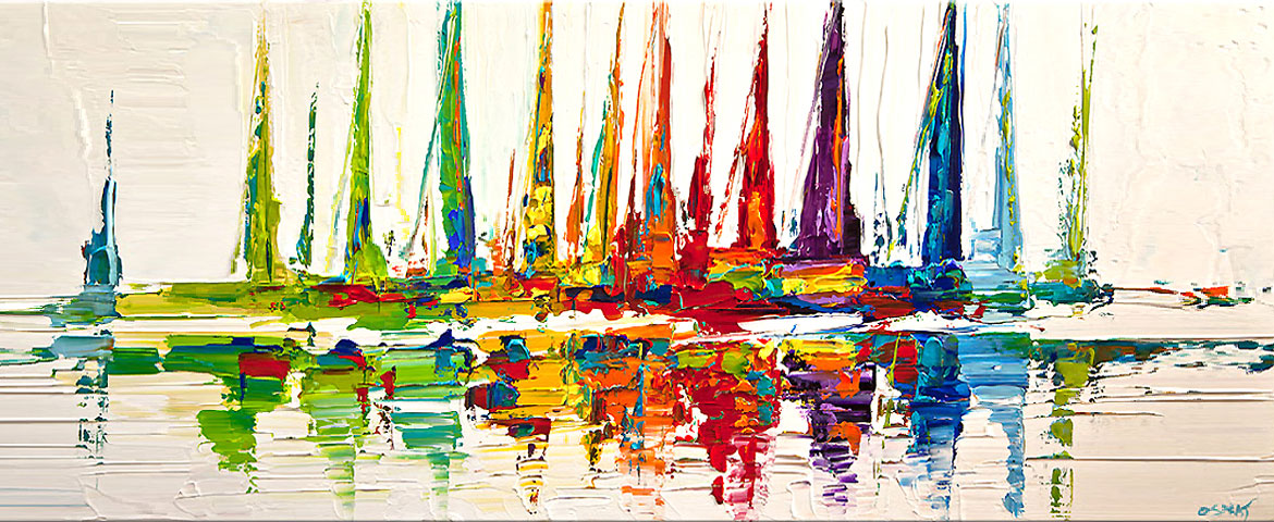 colorful boats modern painting
