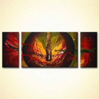 triptych abstract decor in red and green