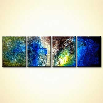 abstract painting blue green