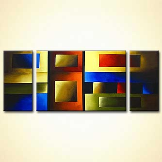 abstract squares on three panels