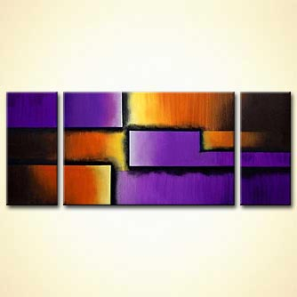 triptych canvas purple abstract