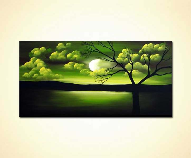 painting for sale green sunrise painting 2103