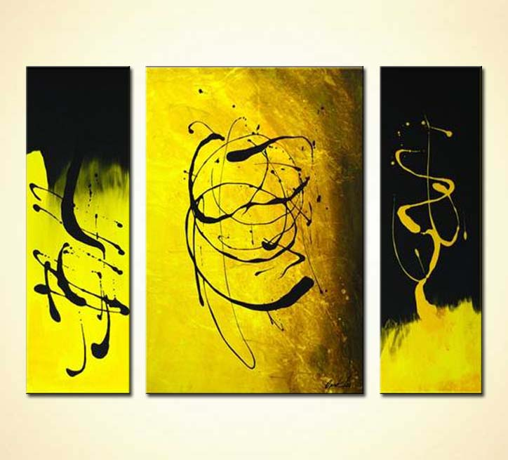 Painting for sale - black and yellow abstract painting #2202Yellow Abstract Painting