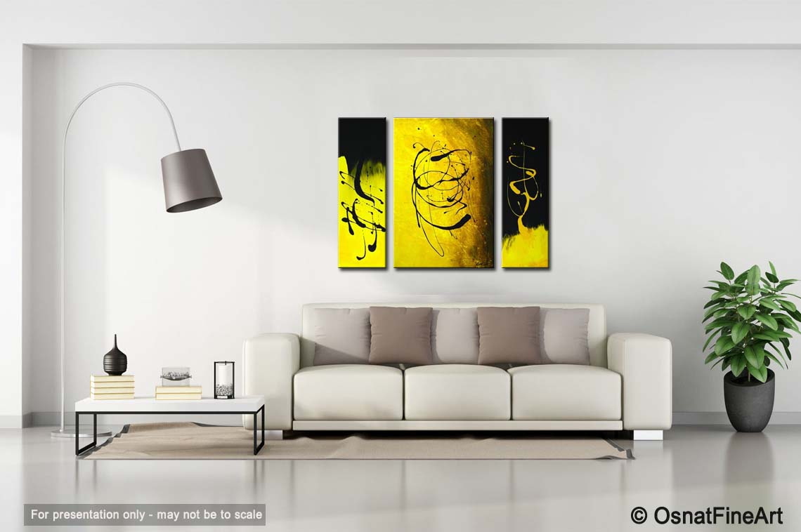 Painting - black and yellow abstract painting #2202 Yellow Black Abstract Paintings