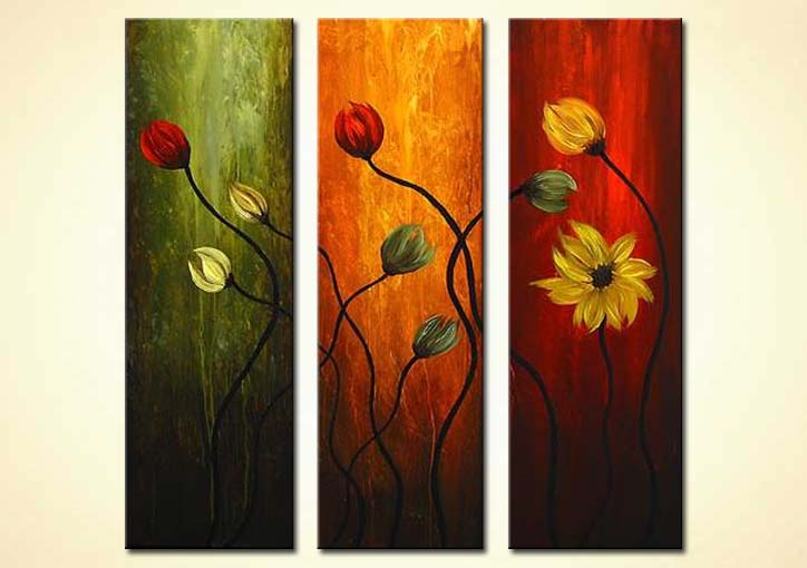 Painting triptych floral painting 2570 for Modern flower paintings