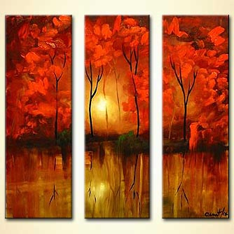 forest sunrise painting