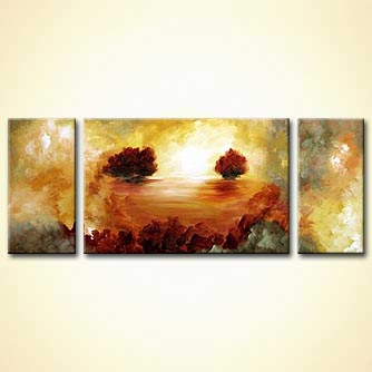 triptych abstract trees canvas