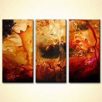 triptych art red orange abstract
