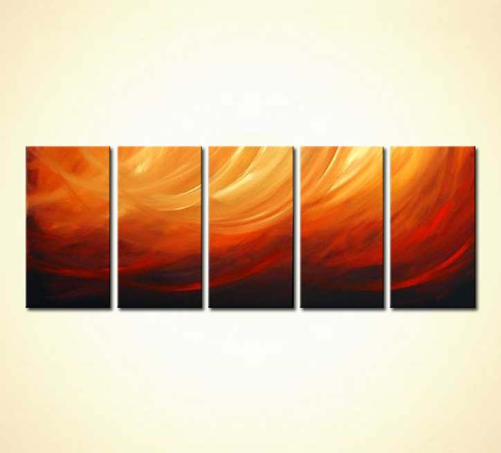 Painting Multi Panel Red Orange Abstract Painting 3084