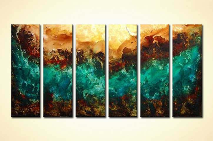 Painting for sale - multi panel turquoise brown abstract