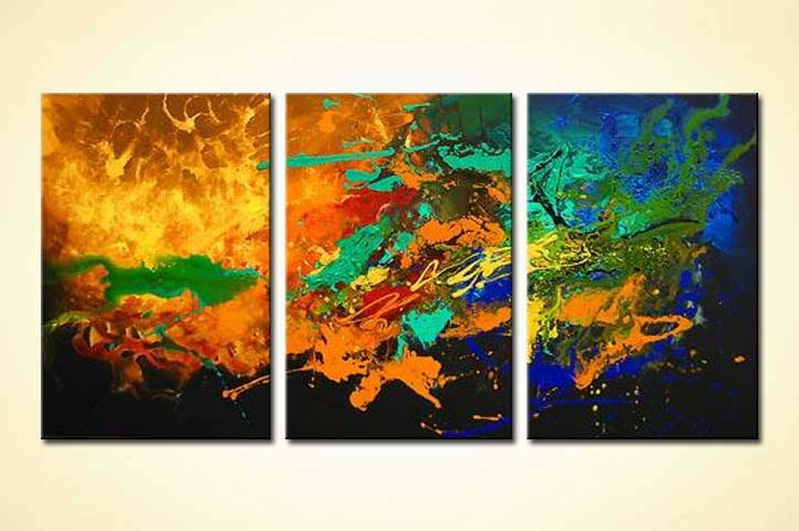 painting triptych canvas colourful abstract painting 3091