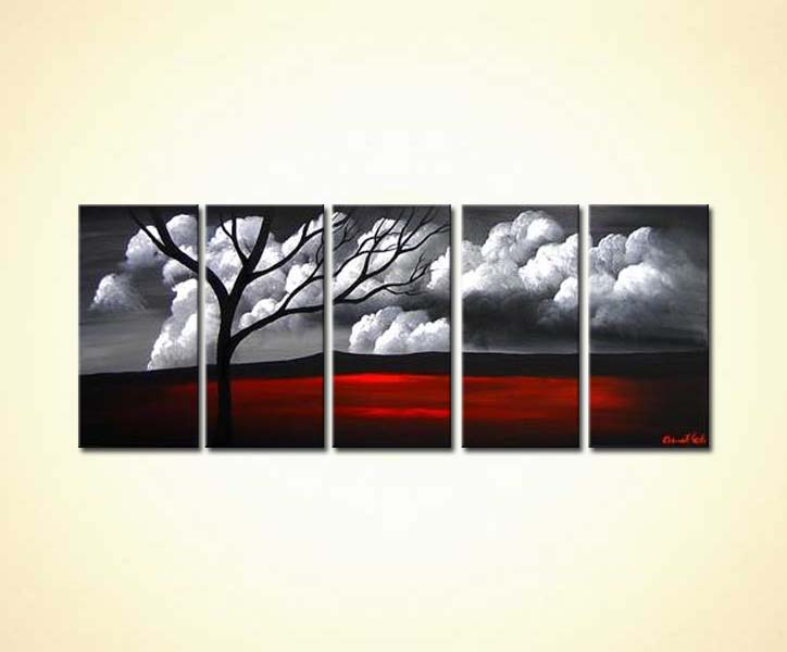Painting For Sale Grey And Red Tree Landscape 3128