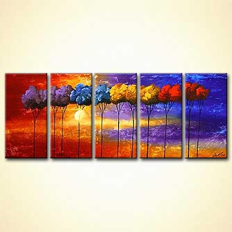 multi panel contemporary blooming tree
