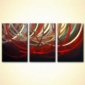 triptych red white rings painting