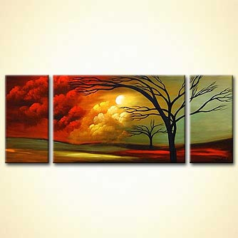 triptych canvas landscape tree