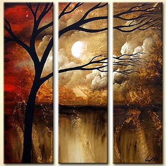 Landscape painting - Waterfalls at Dawn