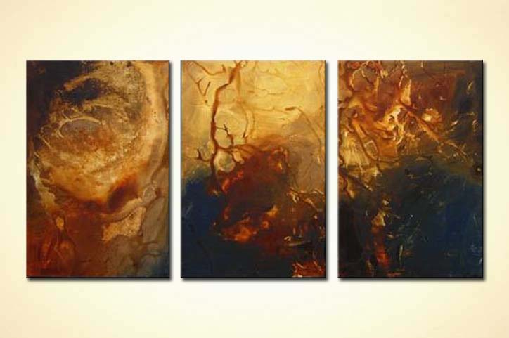 Painting For Sale Triptych Earth Tones Painting 3336