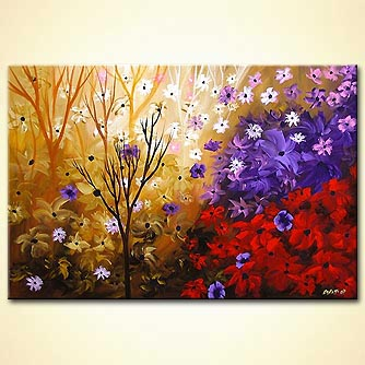 Floral painting - Butterflies are Free to Fly
