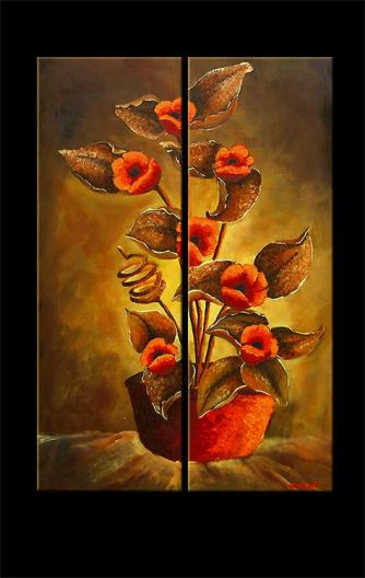 modern abstract art - Love me with Flowers