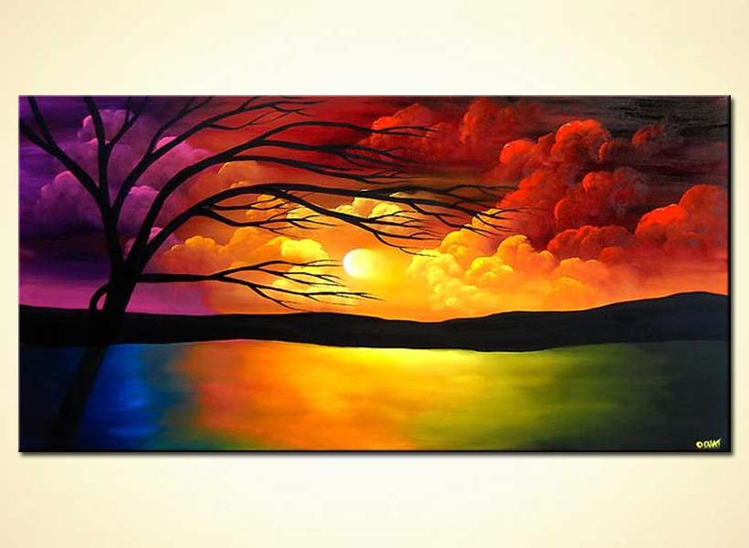 Painting sunrise painting 3680 for Painting with nature items