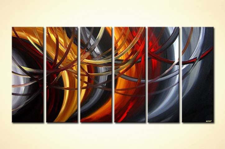 Abstract painting multi panel canvas art 3724 - Decoration murale contemporaine ...