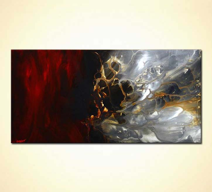 Buy Abstract Painting Red Gray 3827