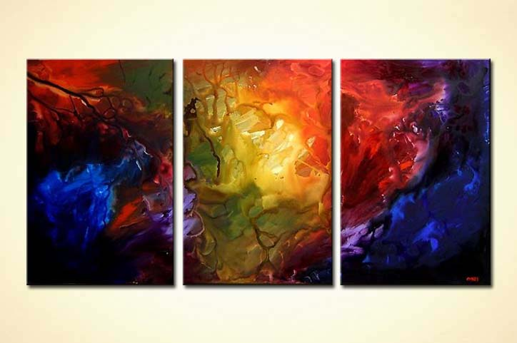 buy abstract painting red blue yellow large triptych 4046