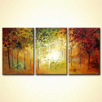 blooming trees forest triptych large