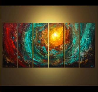 multi-panel abstract art whirlpool storm