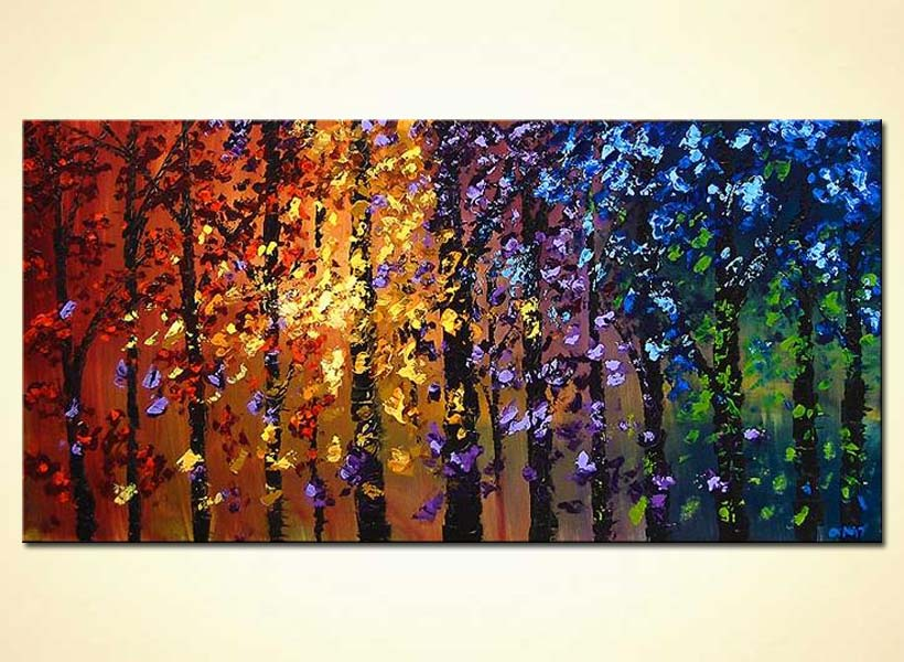 Painting colorful abstract blooming trees landscape 4096 for Artwork on canvas for sale
