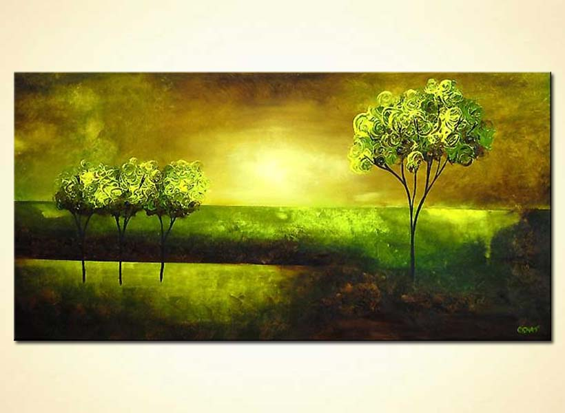 Painting For Sale Green Trees Over Sunrise 4111