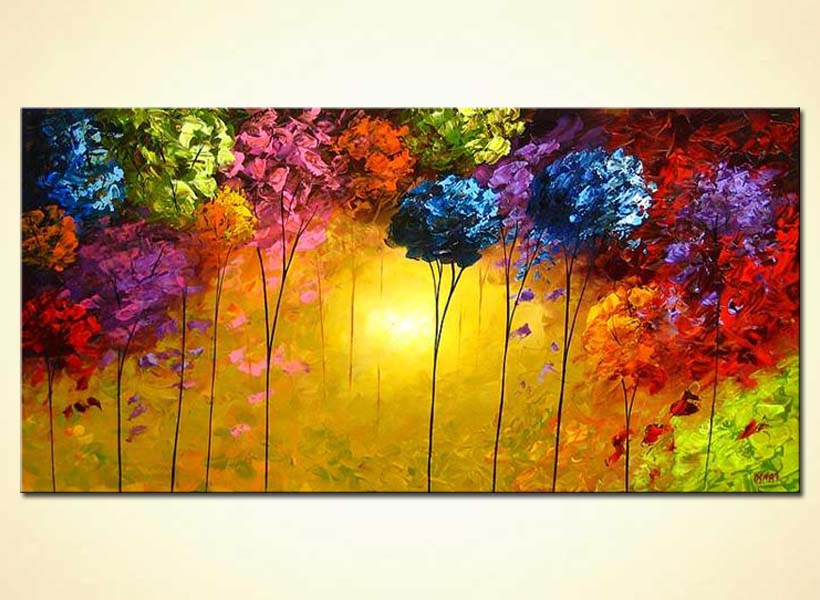 painting   abstract painting of a colorful forest 4156
