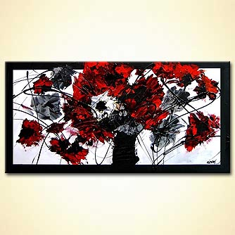abstract panting of the black and red flowers