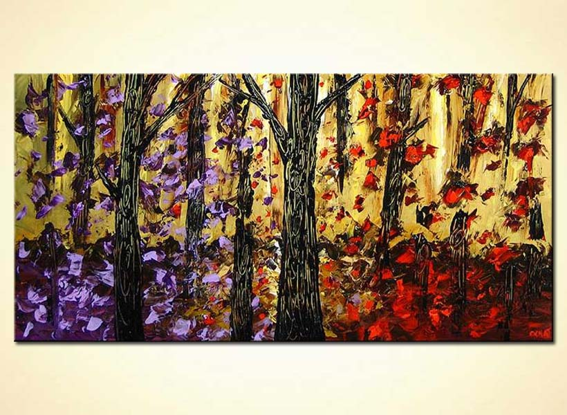 Painting For Sale Purple And Red Trees 4184