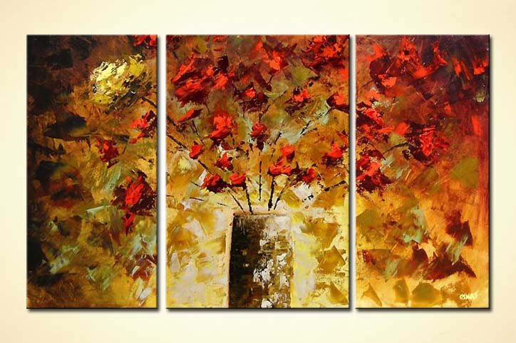 buy triptych painting flowers in vase 4145