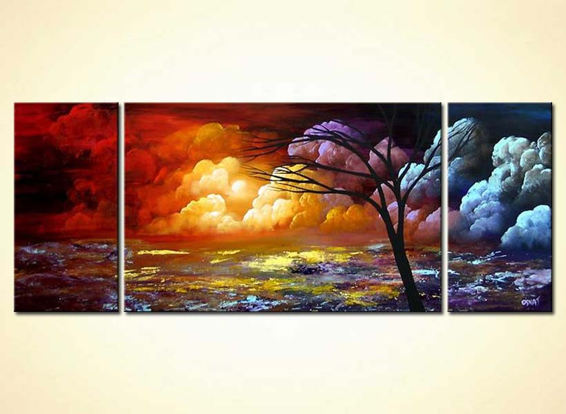 Painting For Sale Triptych Painting Of The Soft Clouds 4180
