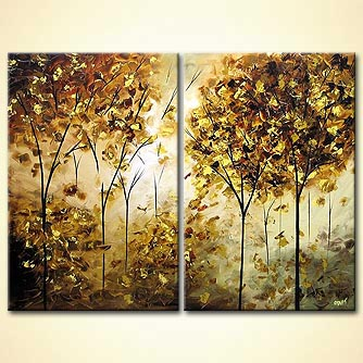 diptych painting of a golden blooming trees