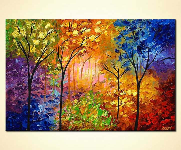 Painting - bold colorful blooming trees #4218