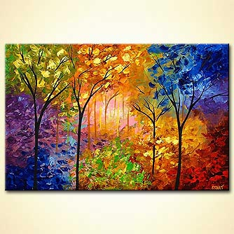 Painting Bold Colorful Blooming Trees 4218