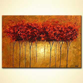 golden forest red trees