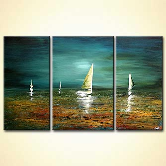 Seascape painting - Across the Sea Into Shallow Water