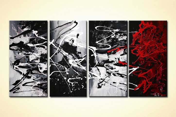 Painting red black and white abstract painting multi for Black and white acrylic painting techniques