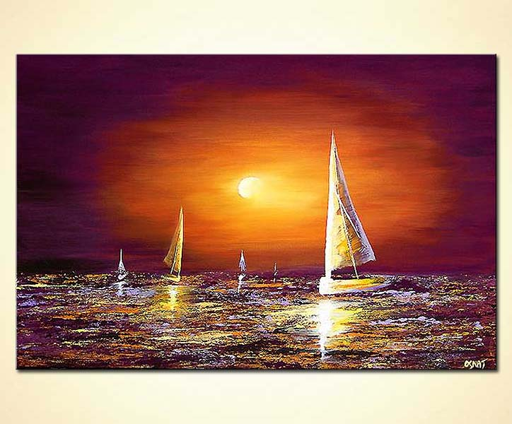 Painting For Sale Sailing Boats On Sea Landscape Sunset