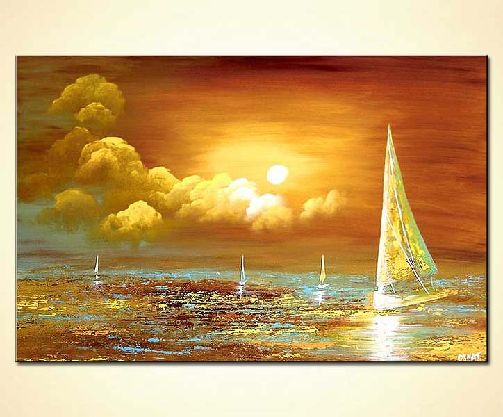 Painting For Sale Sail Boats Ocean Painting Sunrise 4282