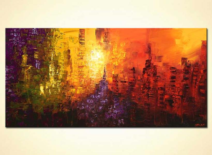 Painting abstract landscape painting colourful city 4345 for Buy abstract art online