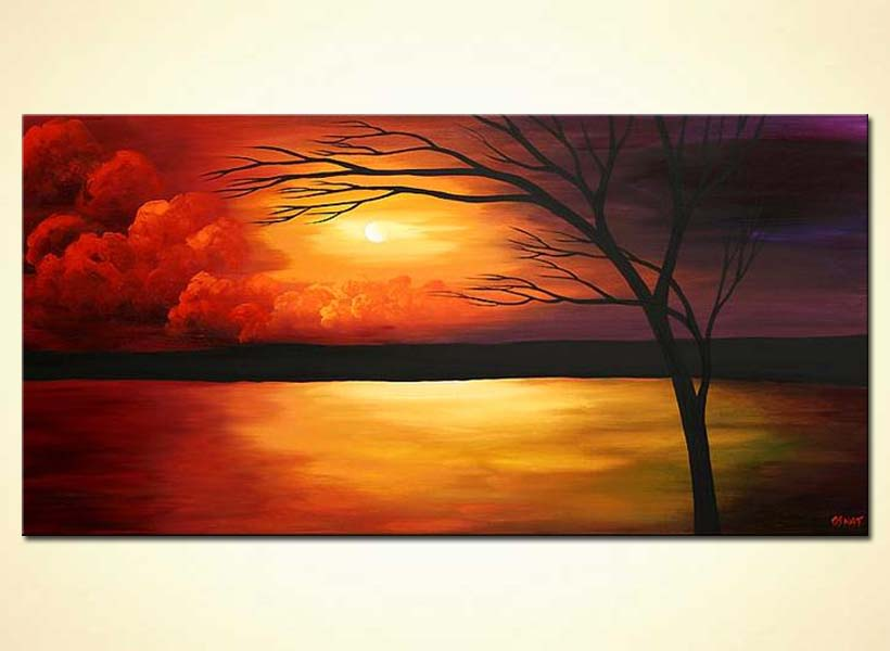 sunset painting landscape colorful tree