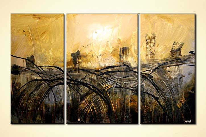 Painting for sale - abstract bridges painting triptych art